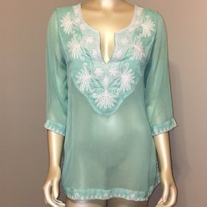 Soft Sorroundings sheer mint color tunic